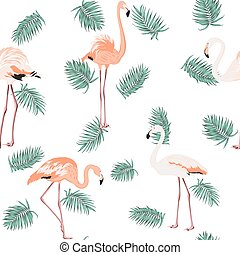 Blue green exotic tropical leaves pink flamingos