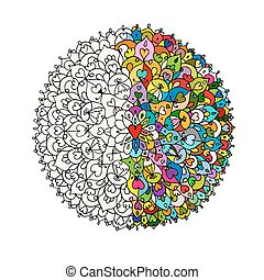 Mandala ornament, hand made sketch for your design. Vector...
