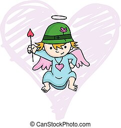 Cartoon of cute cupid with hat