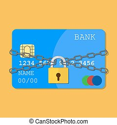 Credit card with chains and pad lock. Concept of protection....