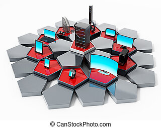 Network with pentagon tiles connecting electronic devices. 3D illustration