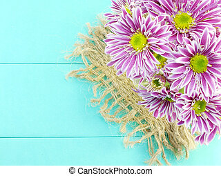 beautiful chrysanthemums pink flowers bouquet on green...