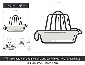 Jelly pudding line icon. - Jelly pudding vector line icon...