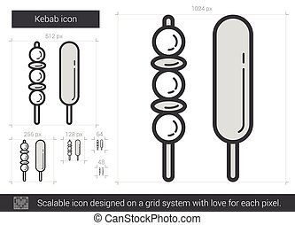 Kebab line icon. - Kebab vector line icon isolated on white...