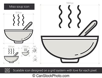 Miso soup line icon. - Miso soup vector line icon isolated...