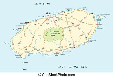 road map of the South Korean island Jeju.eps