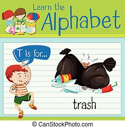 Flashcard letter T is for trash