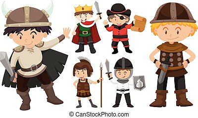 Boys in different costumes