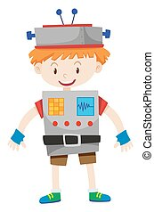 Boy dressed up as robot illustration