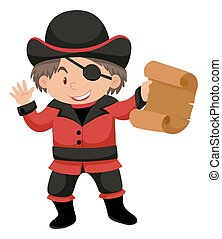 Boy in pirate costume illustration