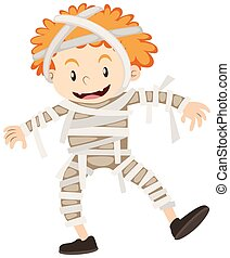 Boy dressed up as mummy illustration