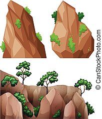 Different shapes of rock and trees