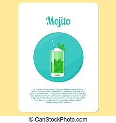 Mojito cocktail drink in circle icon - Mojito cocktail menu...