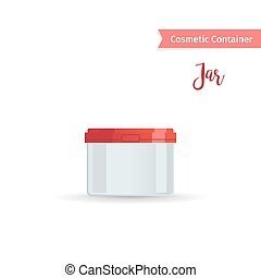 Cosmetic jar with red cap - Cosmetic container. Realistic...