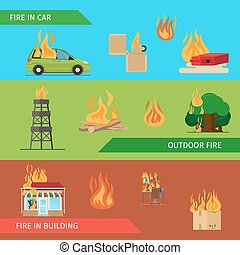 Fire risk horizontal headers or colorful banners. Vector...