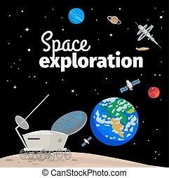 Space exploration illustration with outer space, earth and...