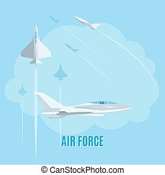 Air force illustration - Air force with white airplanes on...