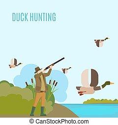 Duck hunting illustration - Hunting concept illustration....