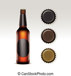Glass Transparent Bottle of Beer with label, Caps - Vector...