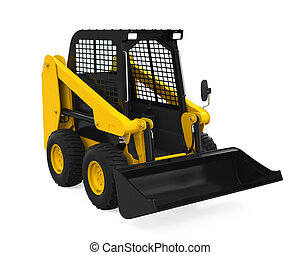 Skid-steer Loader isolated on white background. 3D render