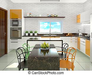 secteur, moderne, Illustration, dîner, clair, cuisine,...