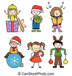 Set of cute kid in christmas holiday
