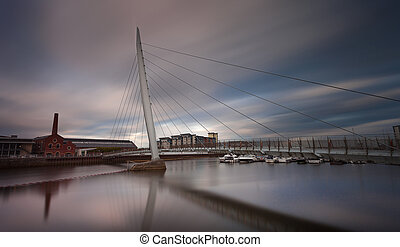 Swansea marina and millennium bridge - The Millennium...