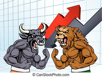 Bears Versus Bulls Stock Market Concept - A cartoon bear...