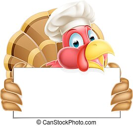 Chef Cartoon Turkey Sign - A Chef Thanksgiving or Christmas...