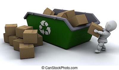 man recycling card boxes in skip - 3D render of man...