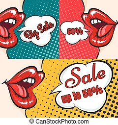 Woman lips pop art sale banners - Pop art sale banners...