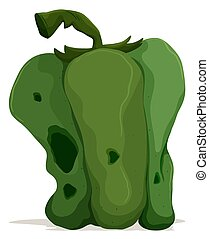 Rotten green capsicum on white background illustration