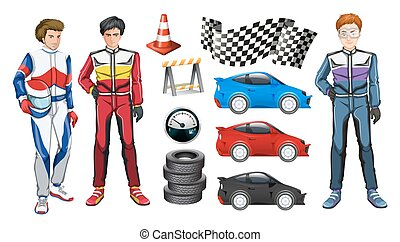 Racing cars and three racers illustration