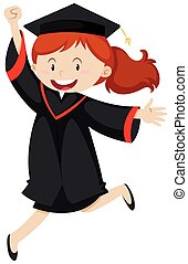 Happy woman in graduation gown illustration
