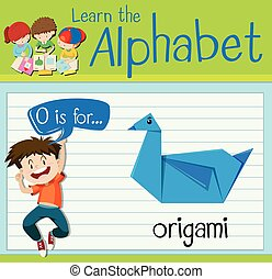 Flashcard letter O is for origami illustration