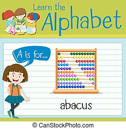 Flashcard letter A is for abacus illustration