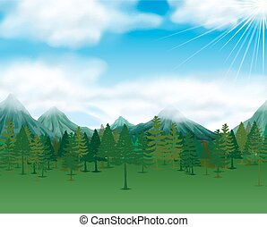 Nature scene with pine trees and mountains illustration