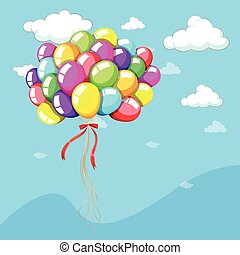 Background template with balloons in blue sky