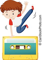 Boy doing hiphop on tape casette illustration