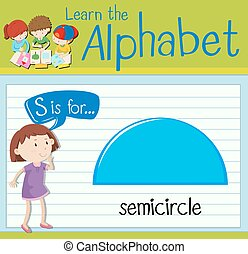 Flashcard letter S is for semicircle illustration