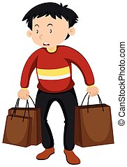 Man with paper bags illustration