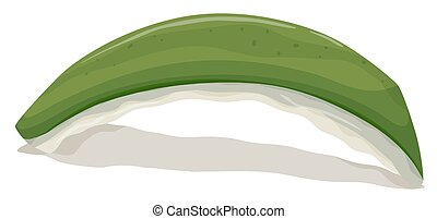 Rotten sushi roll on white background illustration
