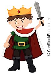 Boy in prince costume holding sword illustration