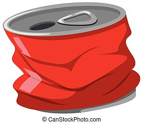Used red can on white background illustration
