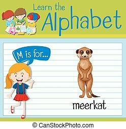 Flashcard letter M is for meerkat illustration