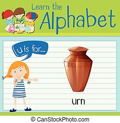 Flashcard letter U is for urn illustration