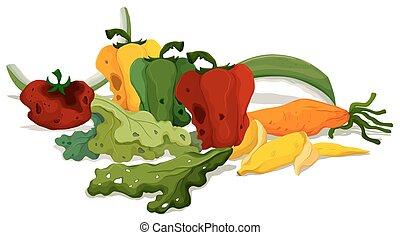 Rotten vegetables on the floor illustration