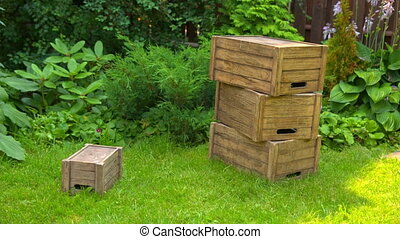 wooden boxes lie on the grass on a background of green...