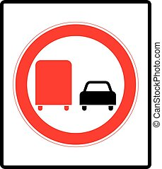 Road sign. Prohibitory sign. No overtaking by heavy goods...