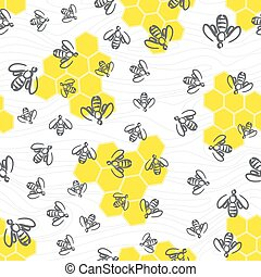 seamless bee pattern - Doodle seamless pattern - swarm of...
